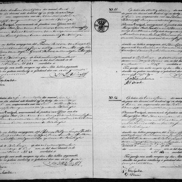 Civil registry of deaths, Blokzijl, April 30, 1835, records 9-12