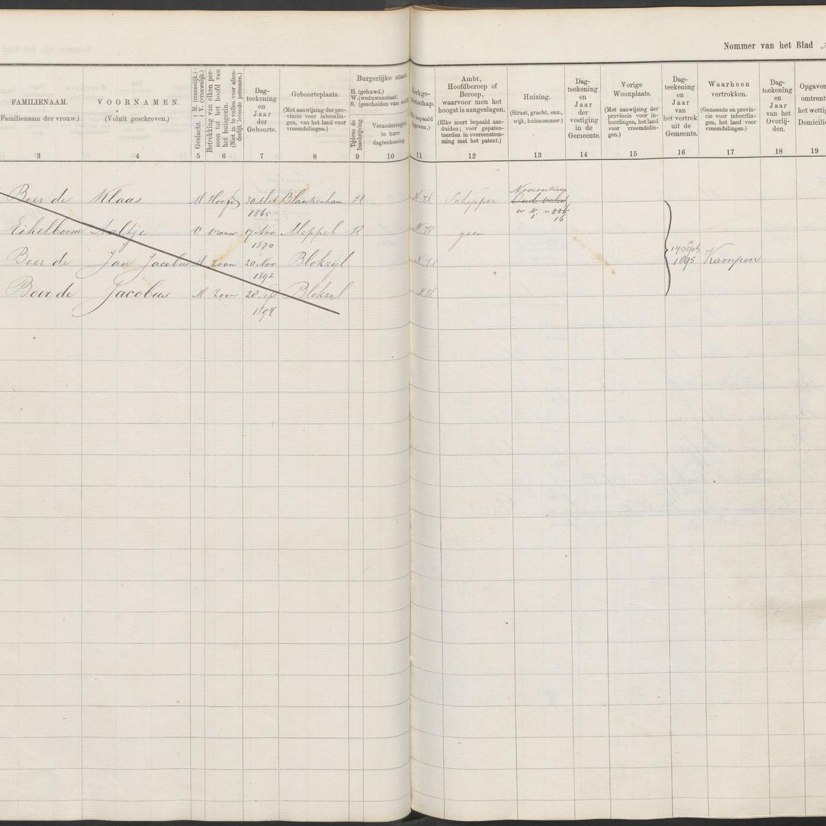 Civil registry, Steenwijkerland, 1890-1905, A-J, archive 8, inventory number 18, folio 57