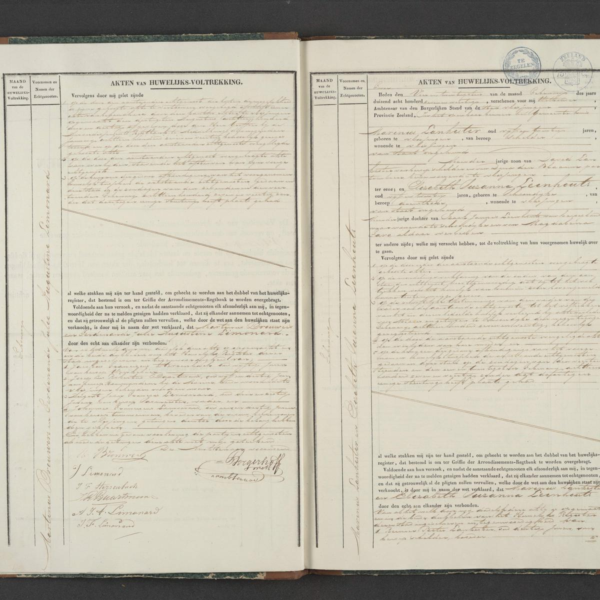 Civil registry of marriages, Vlissingen, 1847, records 1-2