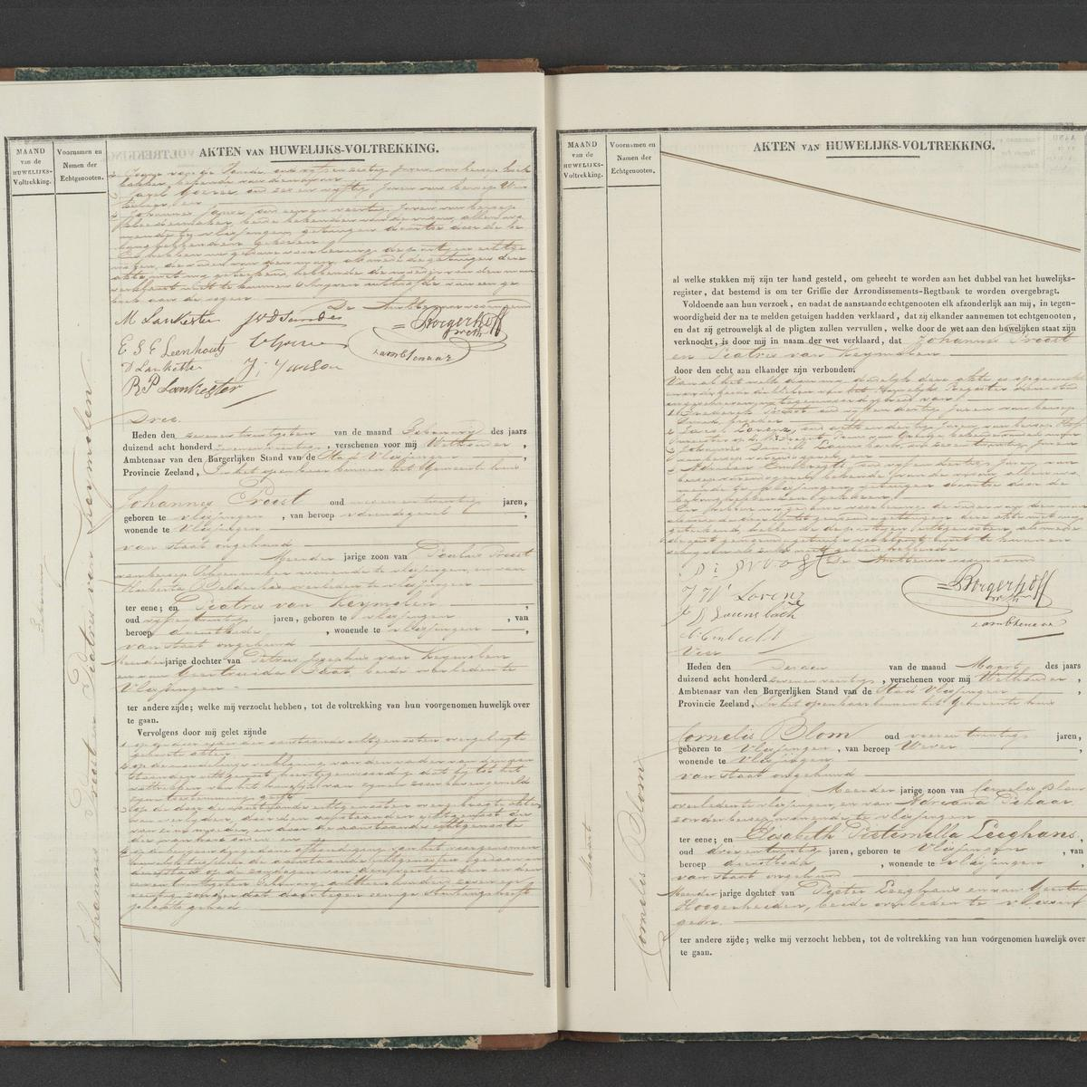 Civil registry of marriages, Vlissingen, 1847, records 2-3