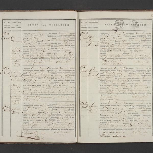 Civil registry of deaths, Veere, 1819, records 40-45
