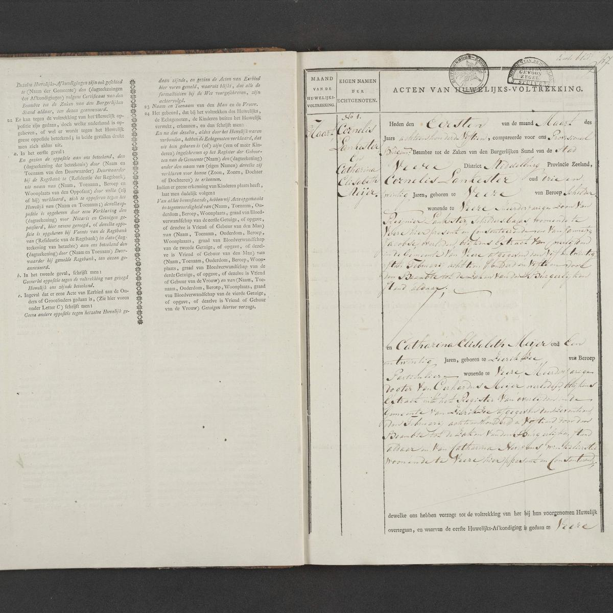 Civil registry of marriages, Veere, 1815, record 1
