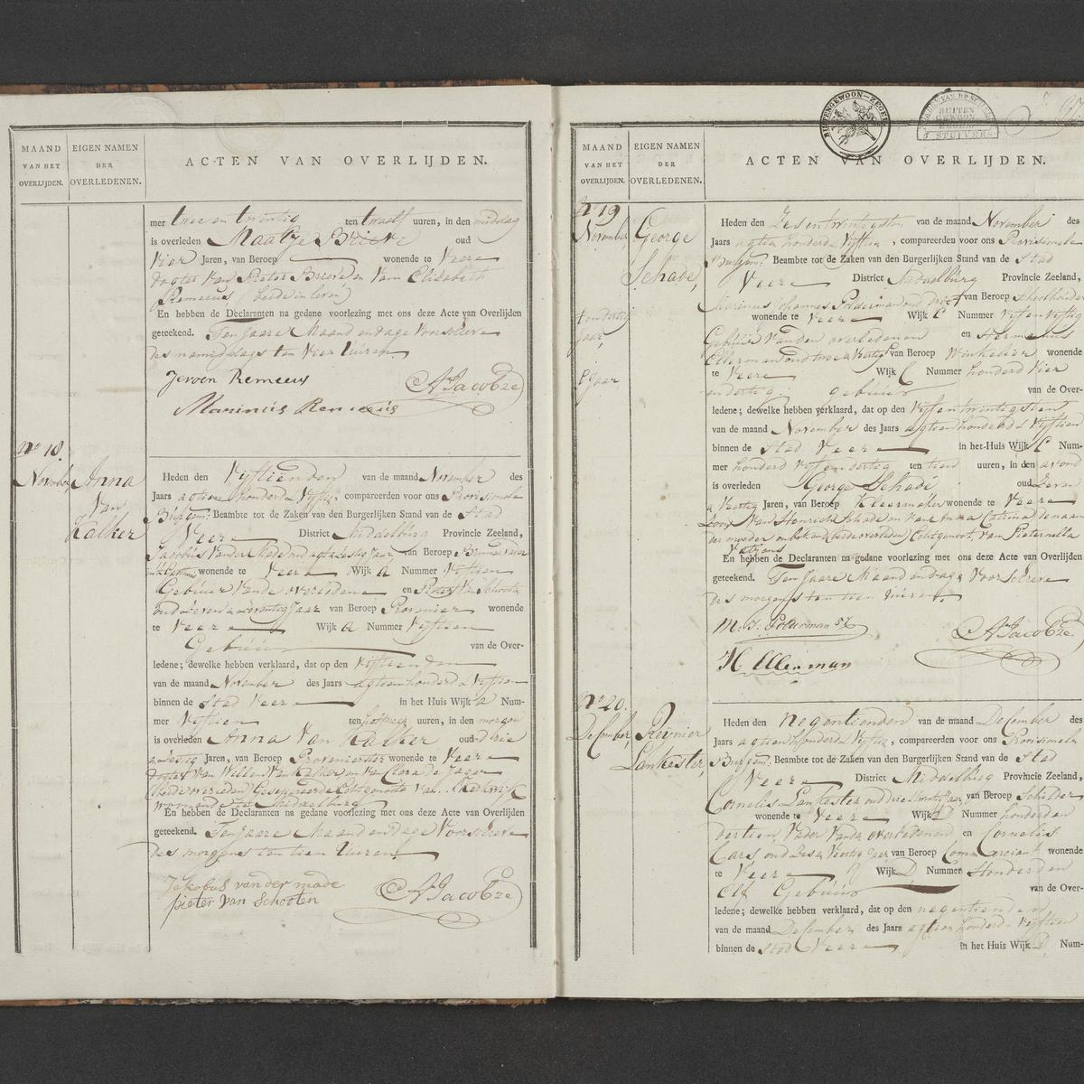 Civil registry of deaths, Veere, 1815, records 18-20