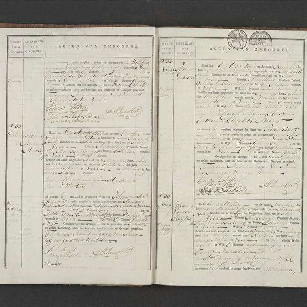 Civil registry of births, Veere, 1815, records 32-35