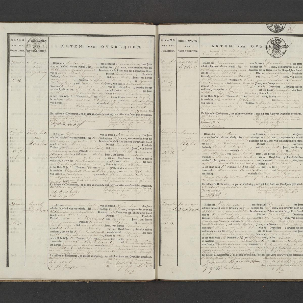 Civil registry of deaths, Tholen, 1824, records 46-51