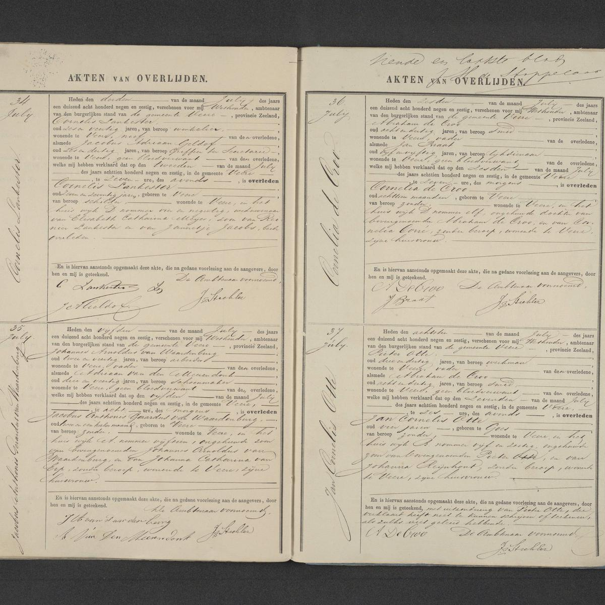 Civil registry of deaths, Veere, 1869, records 34-37