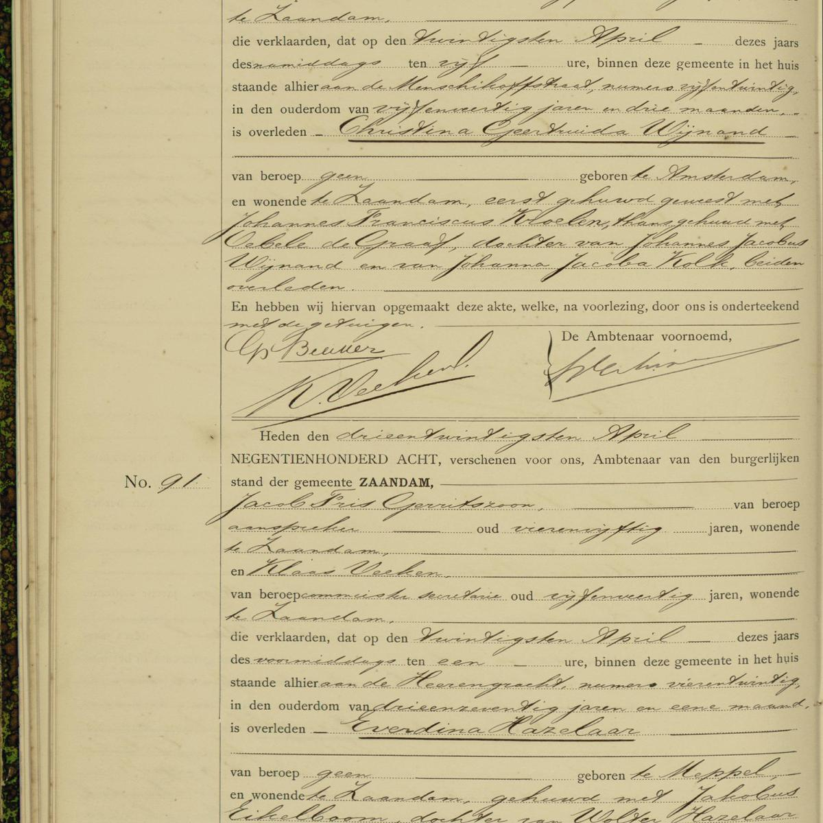 Civil registry of deaths, Zaandam, 1908, records 90-91