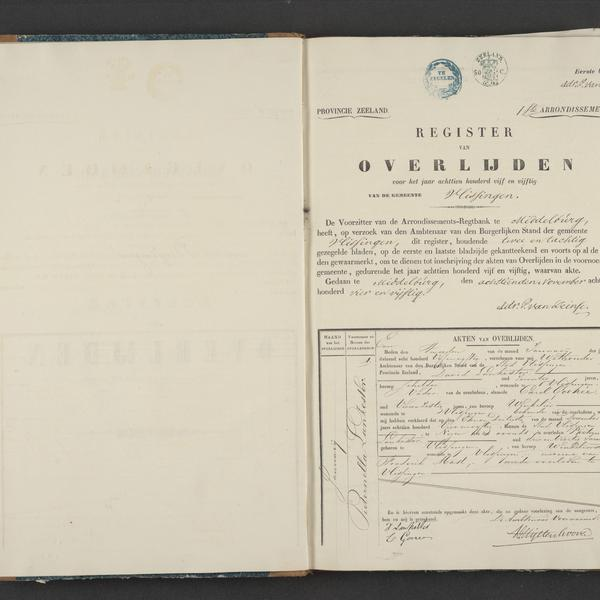 Civil registry of deaths, Vlissingen, 1855, record 1