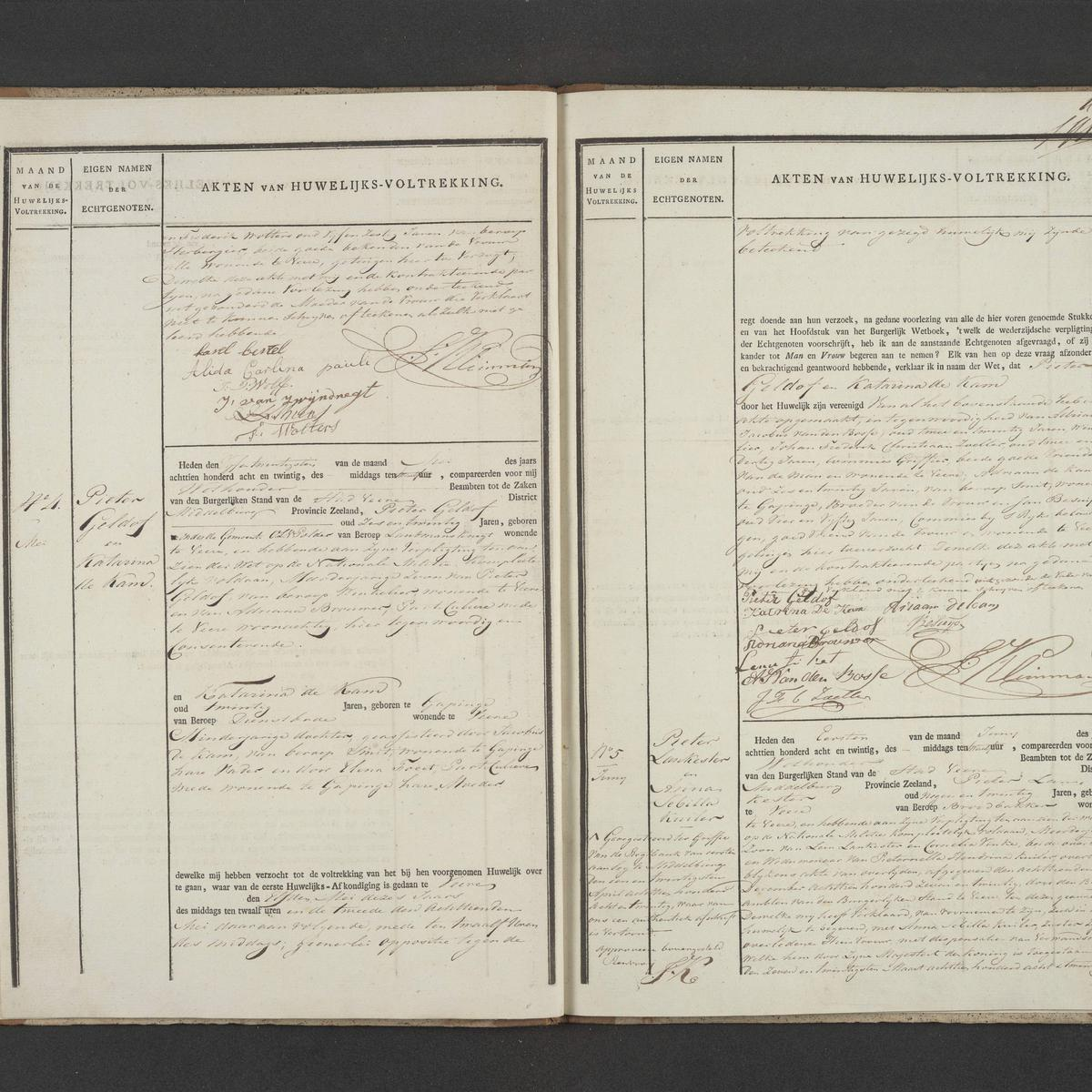 Civil registry of marriages, Veere, 1828, records 3-5