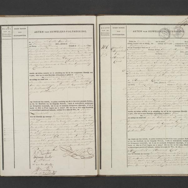 Civil registry of marriages, Veere, 1828, records 5-6