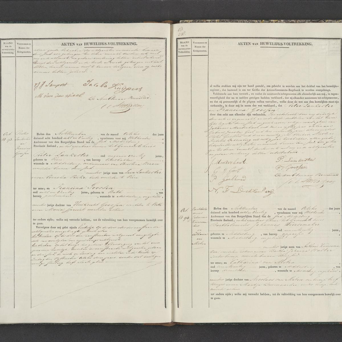 Civil registry of marriages, Middelburg, 1848, records 93-94