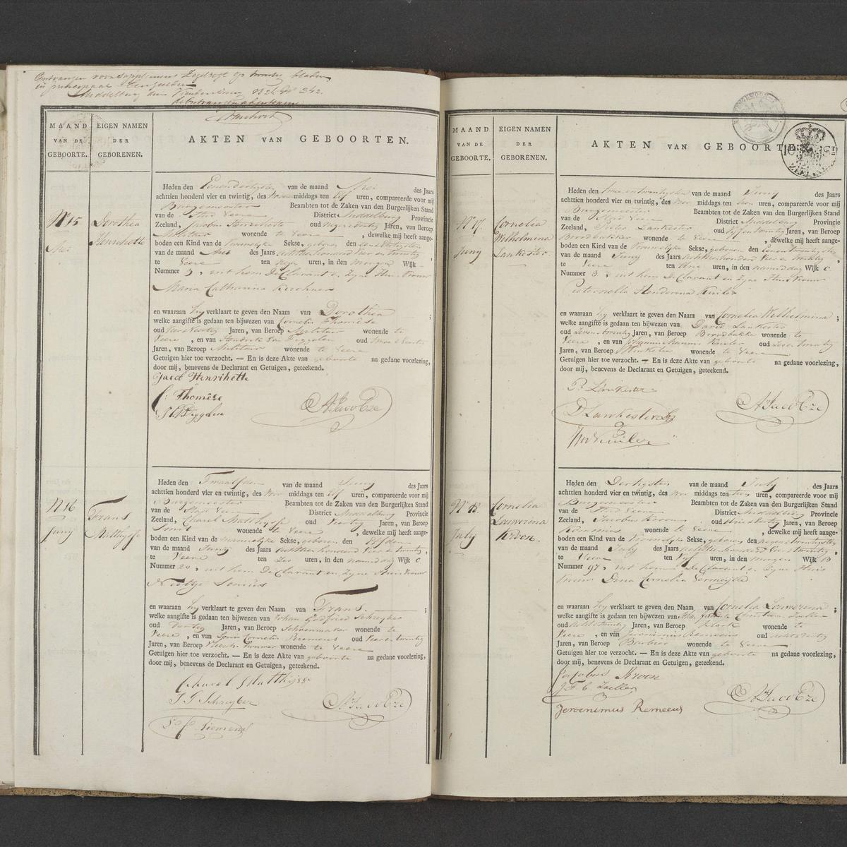 Civil registry of births, Veere, 1824, records 15-18