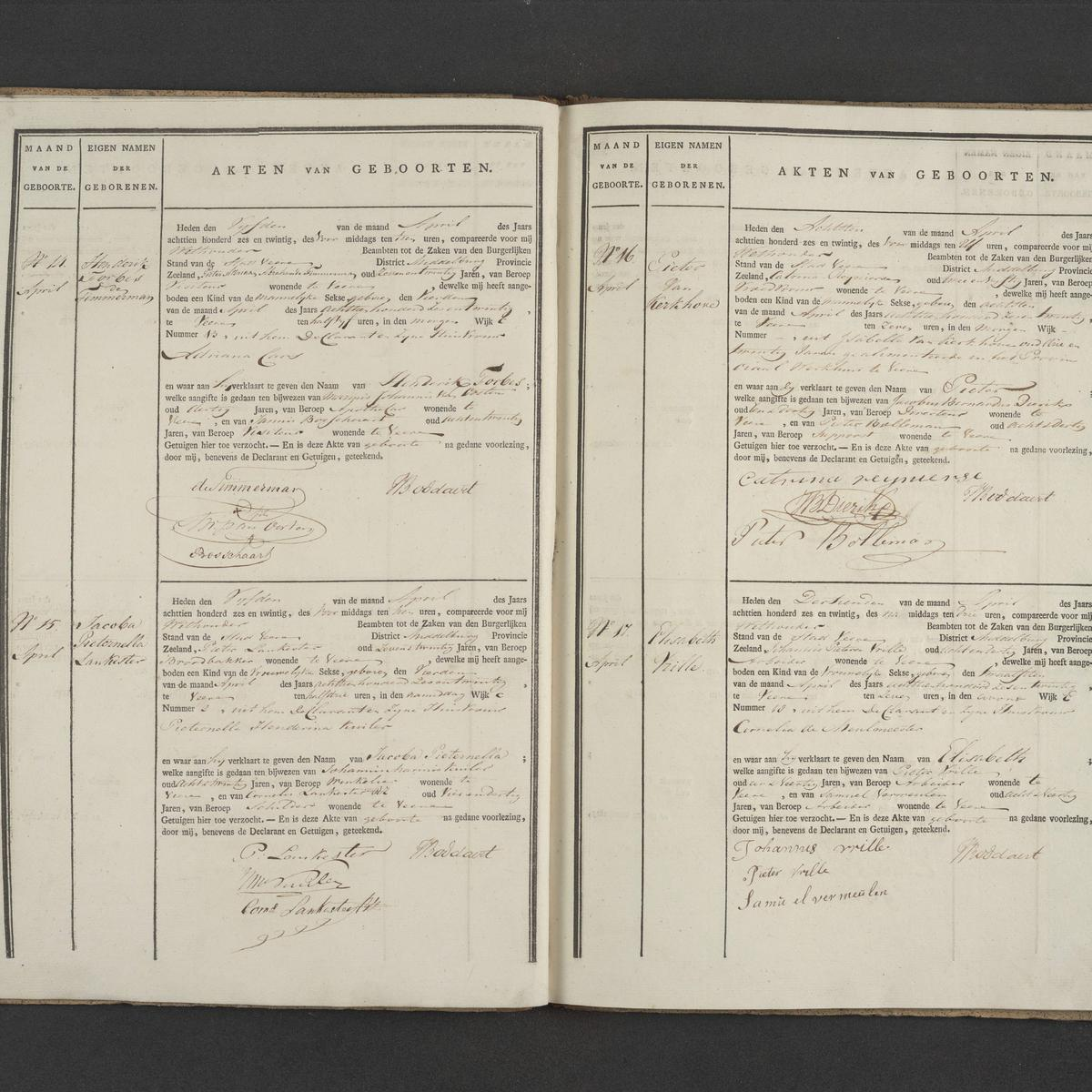 Civil registry of births, Veere, 1826, records 14-17