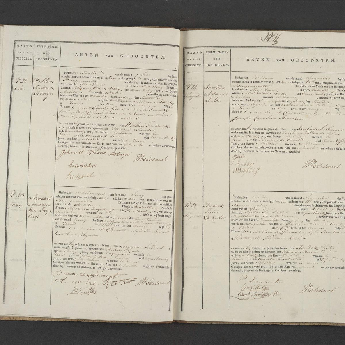 Civil registry of births, Veere, 1827, records 22-25