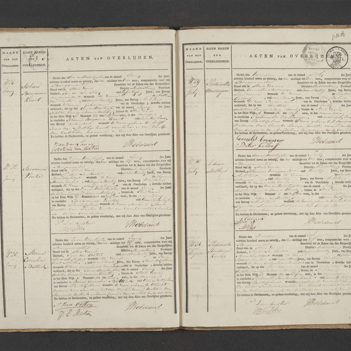 Civil registry of death, Veere, 1827, records 26-31