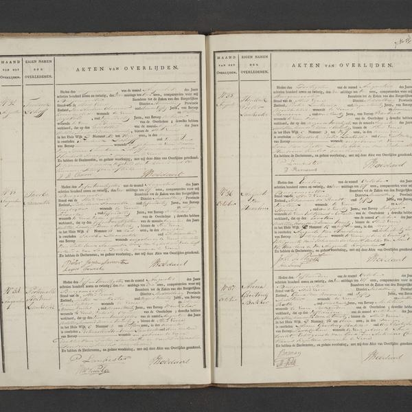 Civil registry of deaths, Veere, 1827, records 32-37