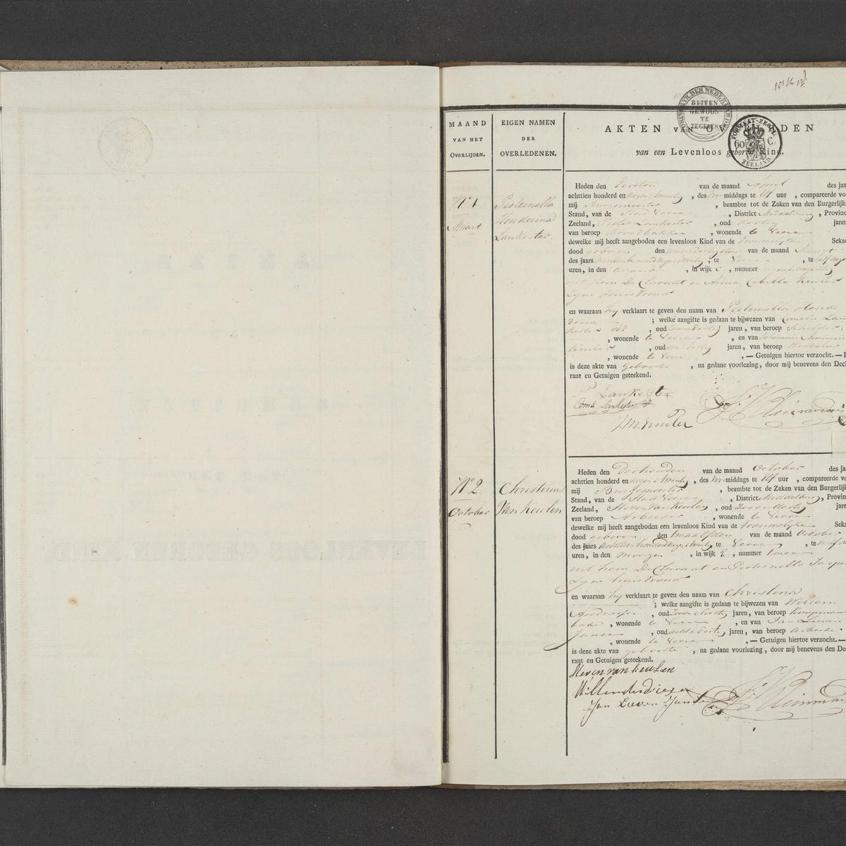 Civil registry of deaths, Veere, 1829, records 49-50