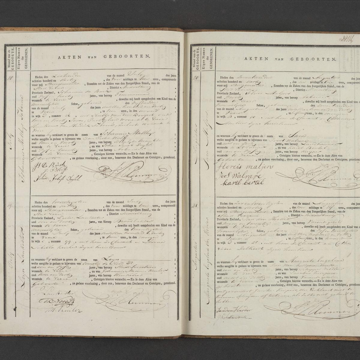 Civil registry of births, Veere, 1830, records 18-21