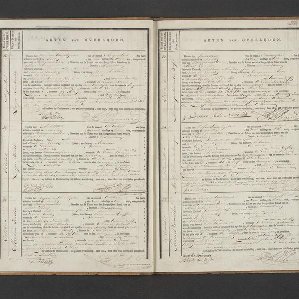 Civil regsistry of deaths, Veere, 1830, records 20-25