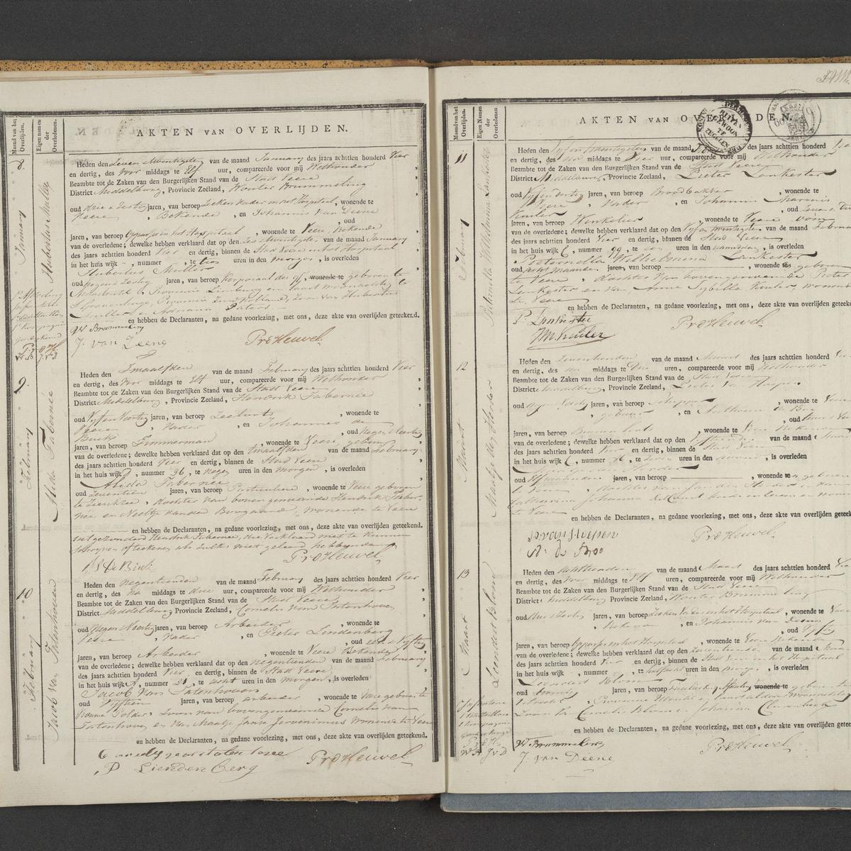 Civil registry of deaths, Veere, 1834, records 8-13