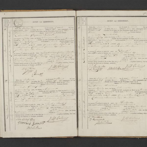Civil registry of births, Veere, 1835, records 10-13