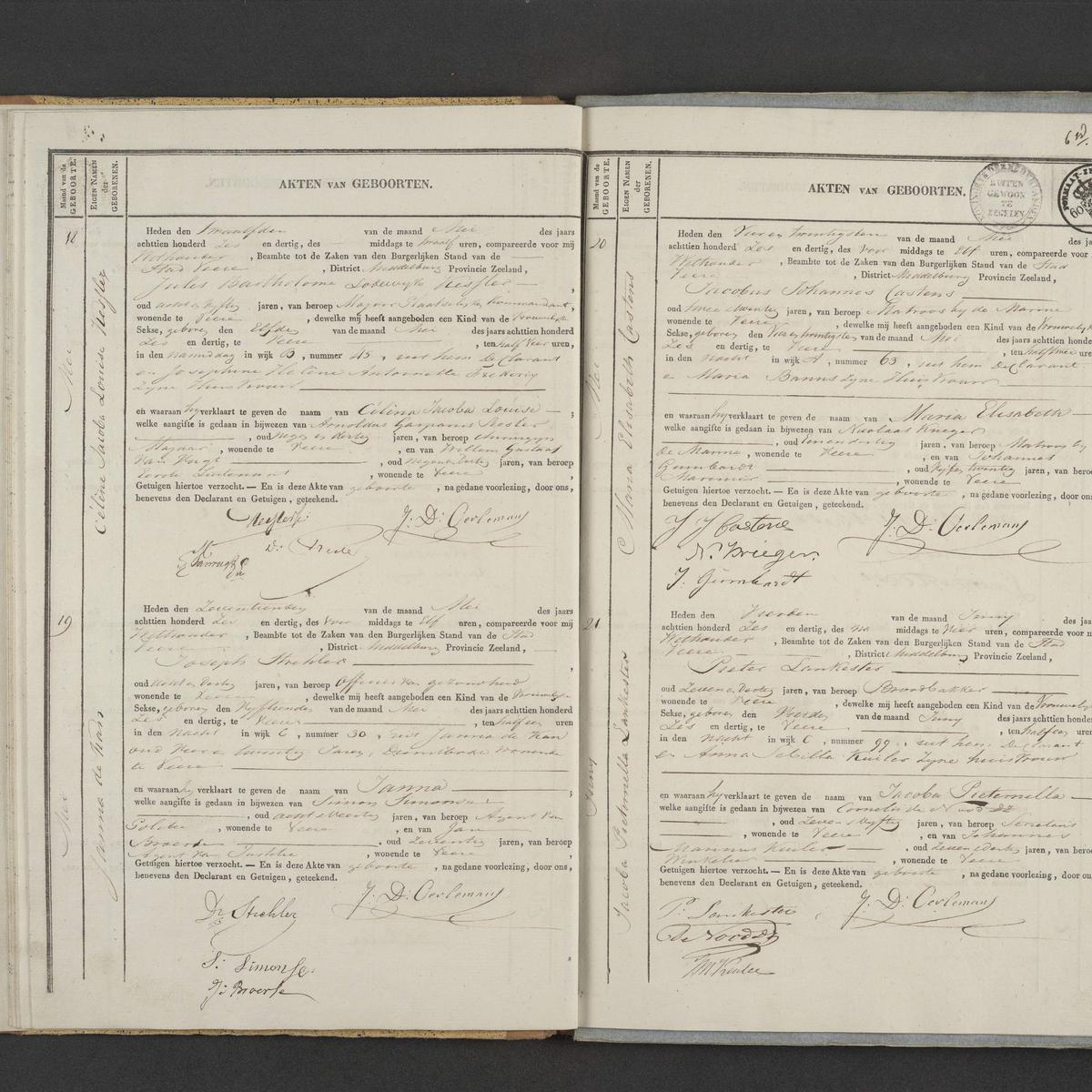 Civil registry of births, Veere, 1836, records 18-21