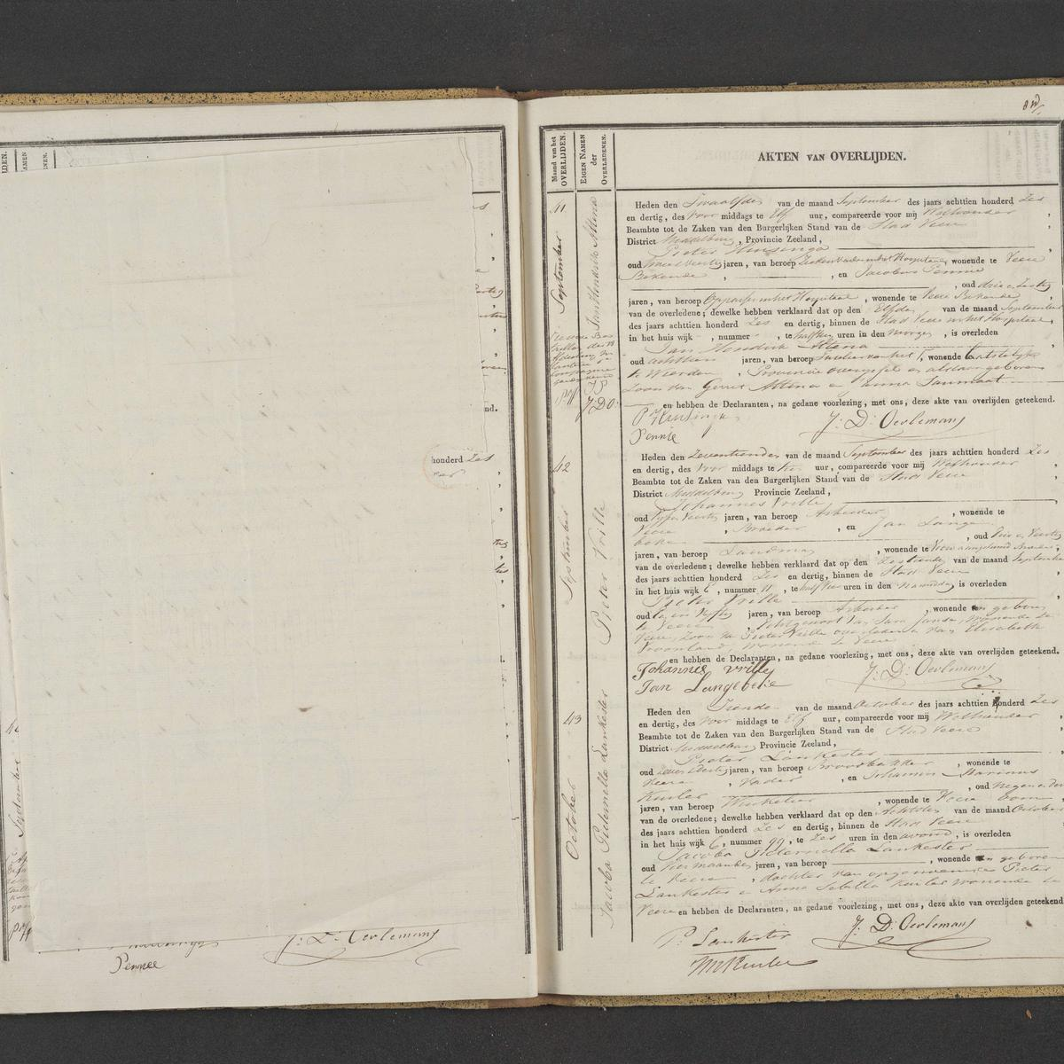 Civil registry of deaths, Veere, 1836, records 41-43
