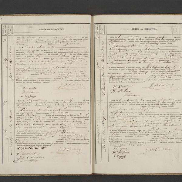 Civil registry of births, Veere, 1837, records 26-29