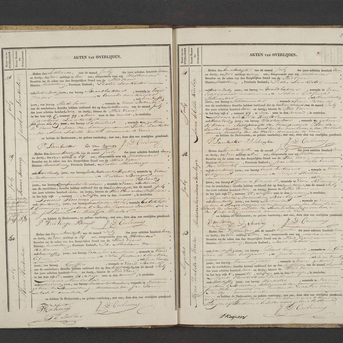 Civil registry of deaths, Veere, 1837, records 38-43