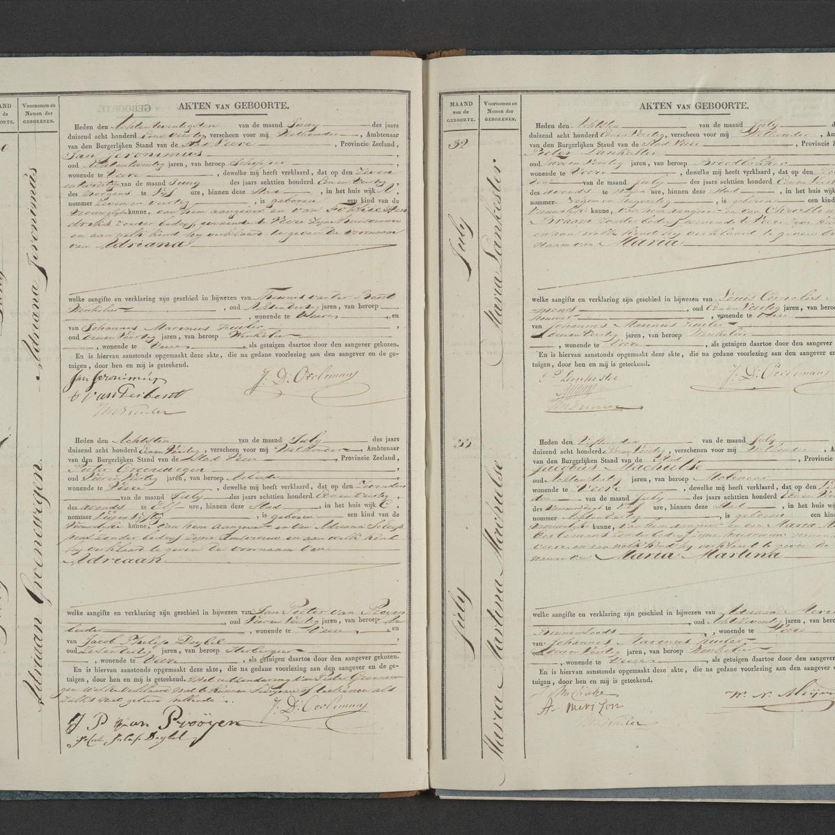 Civil registry of births, Veere, 1841, records 30-33