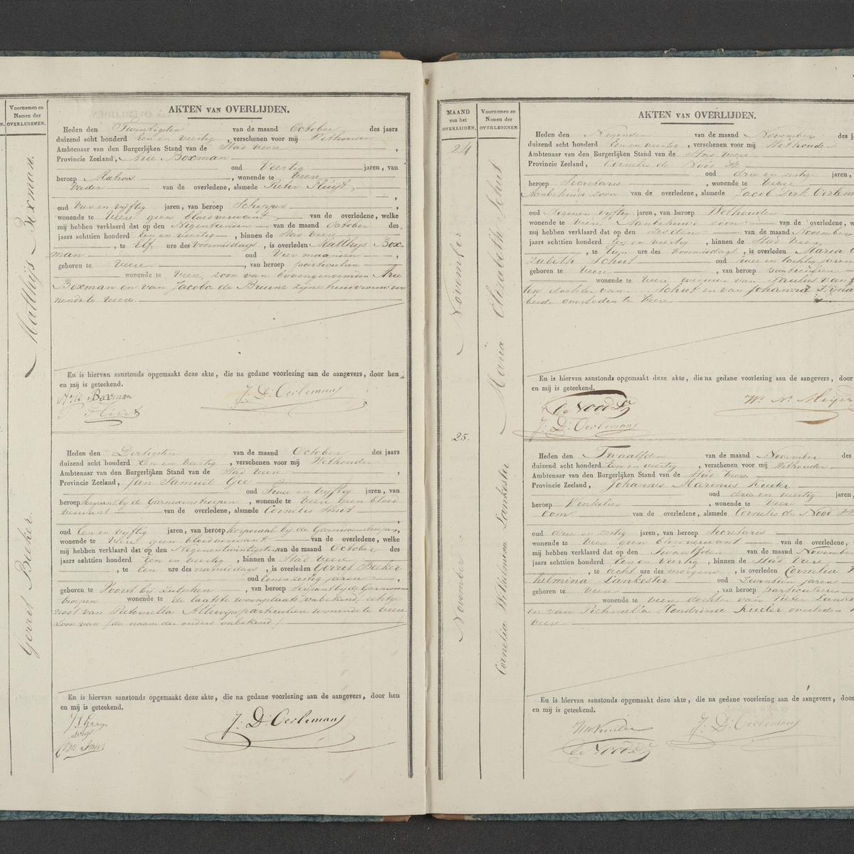 Civil registry of deaths, Veere, 1841, records 22-25