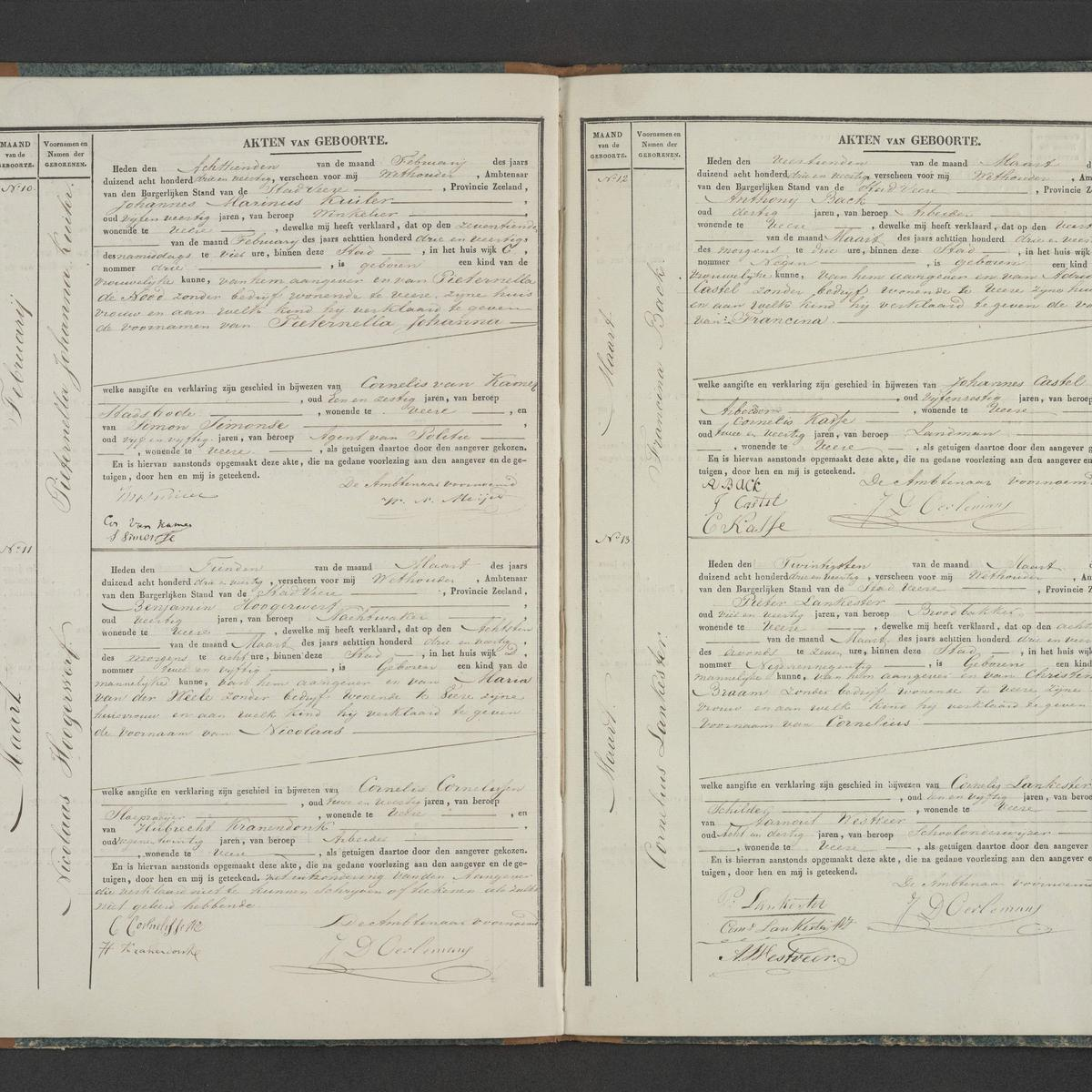 Civil registry of births, Veere, 1843, records 10-13
