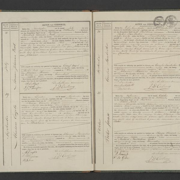 Civil registry of births, Veere, 1844, records 18-21