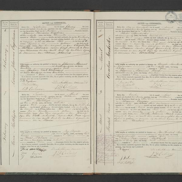 Civil registry of births, Veere, 1846, records 6-9