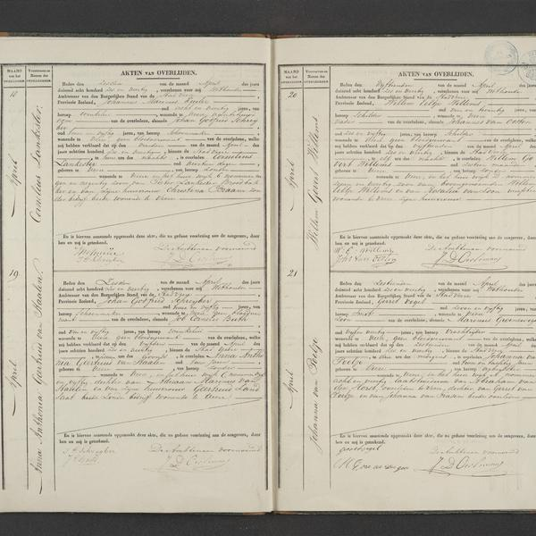 Civil registry of deaths, Veere, 1846, records 18-21