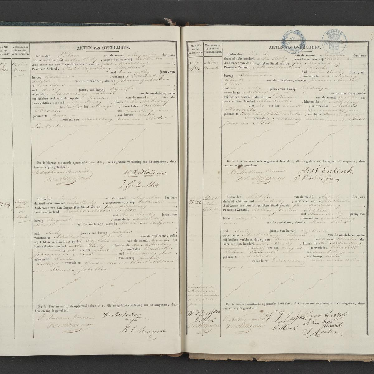 Civil registry of deaths, Middelburg, 1848, records 318-321