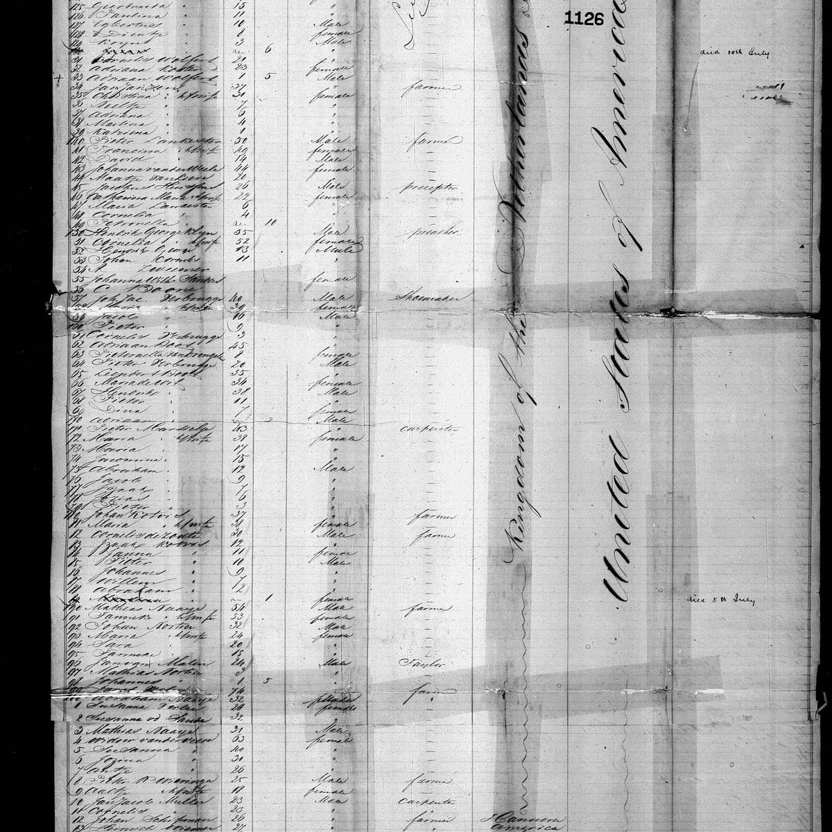 "Passenger manifest for the ""Leila"", arrival in New York on 1849-08-15"