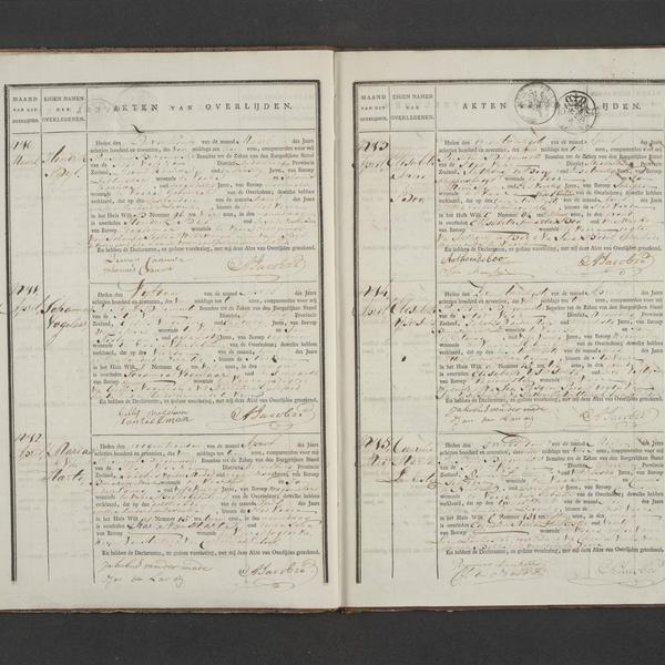 Civil registry of deaths, Veere, 1817, records 10-15