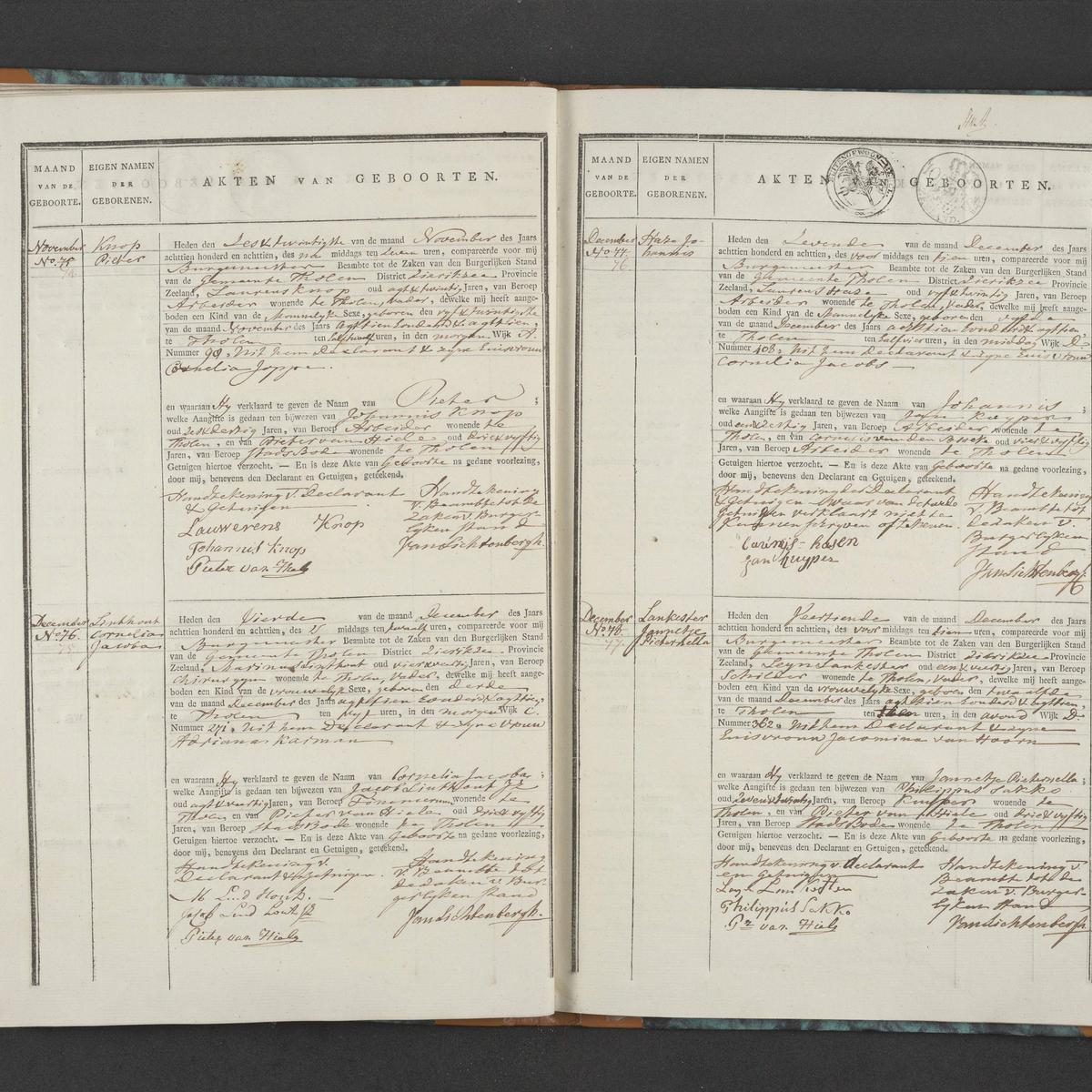 Civil registry of births, Tholen, 1818, records 74-77