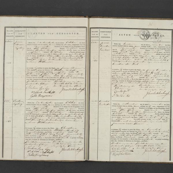 Civil registry of births, Tholen, 1822, records 63-66