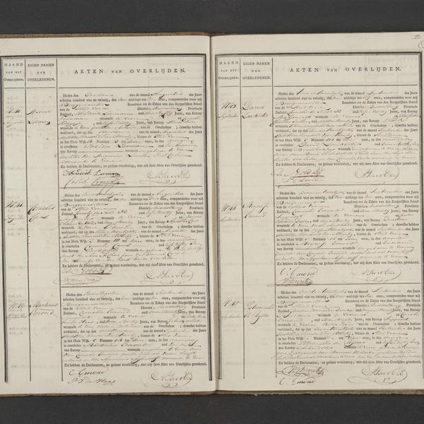Civil registry of deaths, Veere, 1824, records 40-45