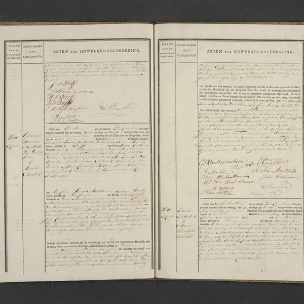 Civil registry of marriages, Veere, 1823, records 11-12