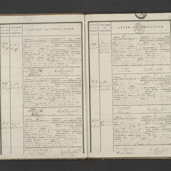 Civil registry of deaths, Veere, 1824, records 16-21
