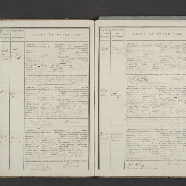Civil registry of deaths, Veere, 1826, records 26-31