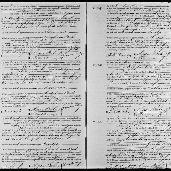 Civil registry of births, Amsterdam, 1900, records 3308-3318
