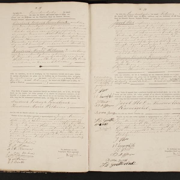 Civil registry of marriages, Deventer, 1859, records 19-20