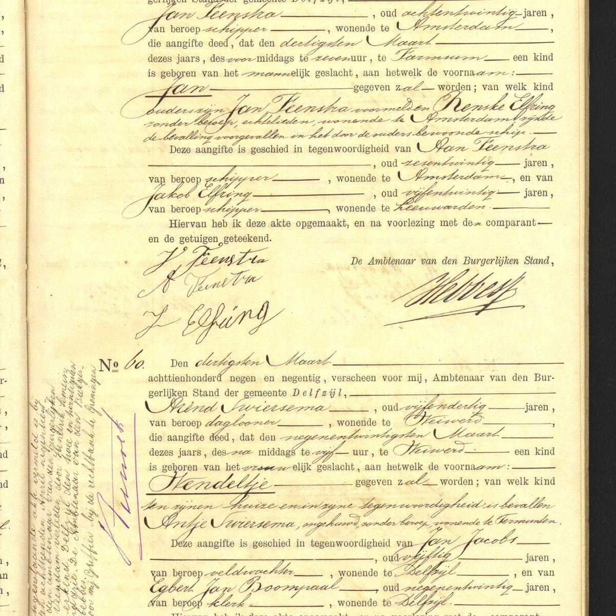 Civil registry of births, Delfzijl, 1899, records 59-60