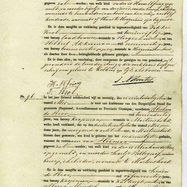 Civil registry of births, Hoogezand, 1875, records 95-96