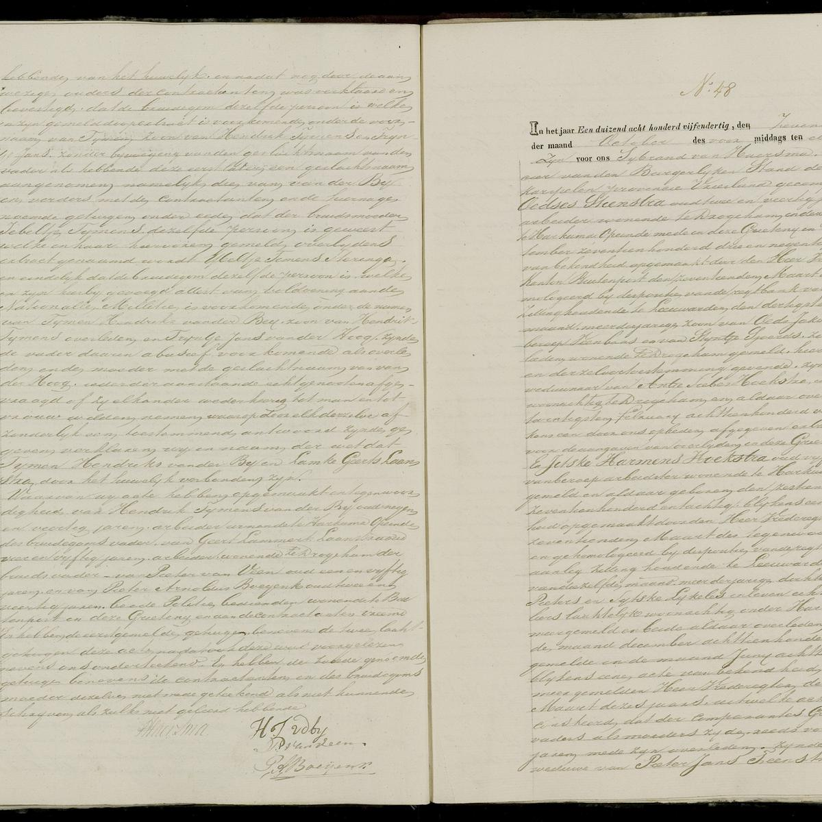 Civil registry of marriages, Achtkarspelen, 1835, records 47-48