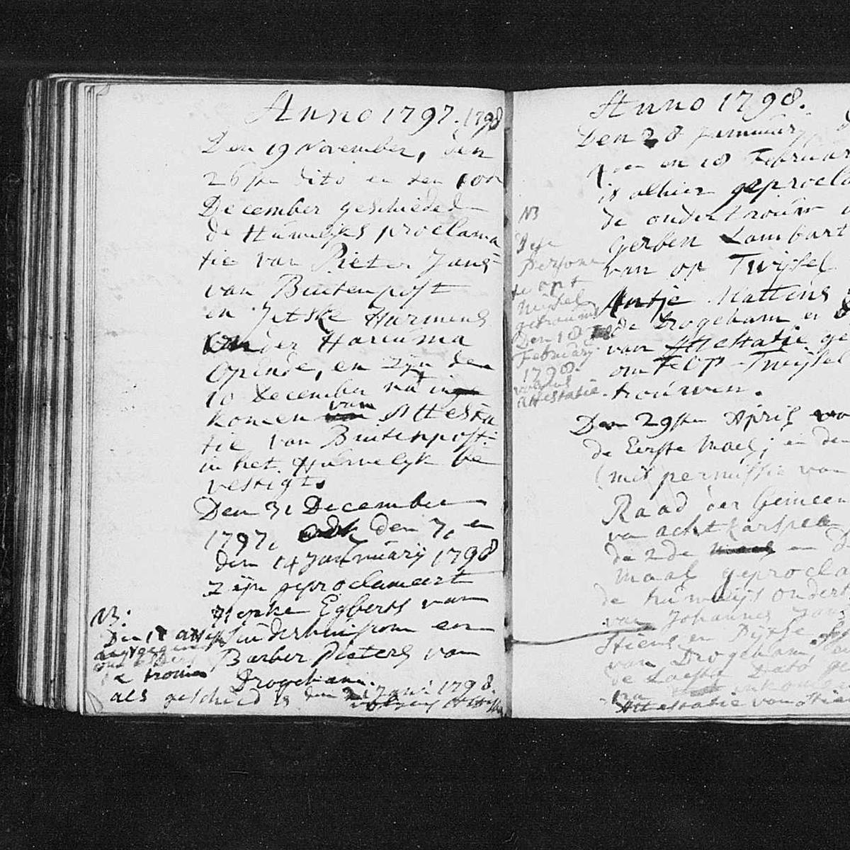 Registry of marriages, Nederlands Hervormde kerk, Drogeham, 1796-1798, sheet 43